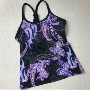 ATHLETA Pavitra Black Purple Paisley Shelf Bra Top